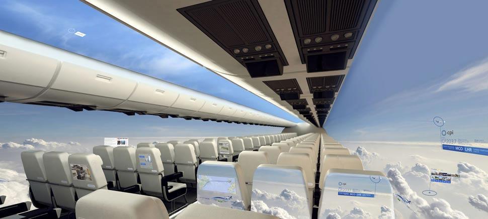 Концепция безиллюминаторного самолёта / слайд 1