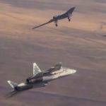 Cовместный полёт ударного БПЛА «Охотник» и истребителя Су-57 (видео)